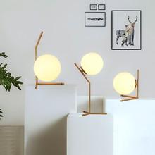 ФОТО Post-modern glass spherical lamp Nordic simple bedroom bedside creative decorative table lamp