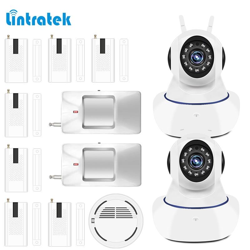 720P Surveillance Internal IP Camera 433mhz Smoke Window Motion Sensor Alarm System Kits for Home Elderly Supervision LINTRATEK