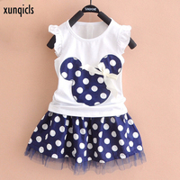 Xunqicls 1 5Y Baby Girls Clothes Summer Short Sleeve Cartoon T Shirt Dot Skirt Kids Clothing