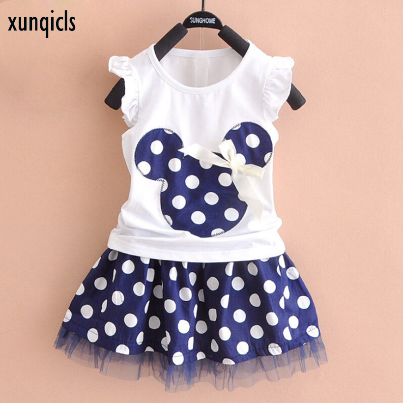 xunqicls 1-5Y Baby Girls Clothes Summer Short Sleeve Cartoon T shirt + Dot Skirt Kids Clothing Set 2017 new style fashion mom and girls short sleeve letter t shirt dot black skirt set summer kids casual clothes parenting 17f222