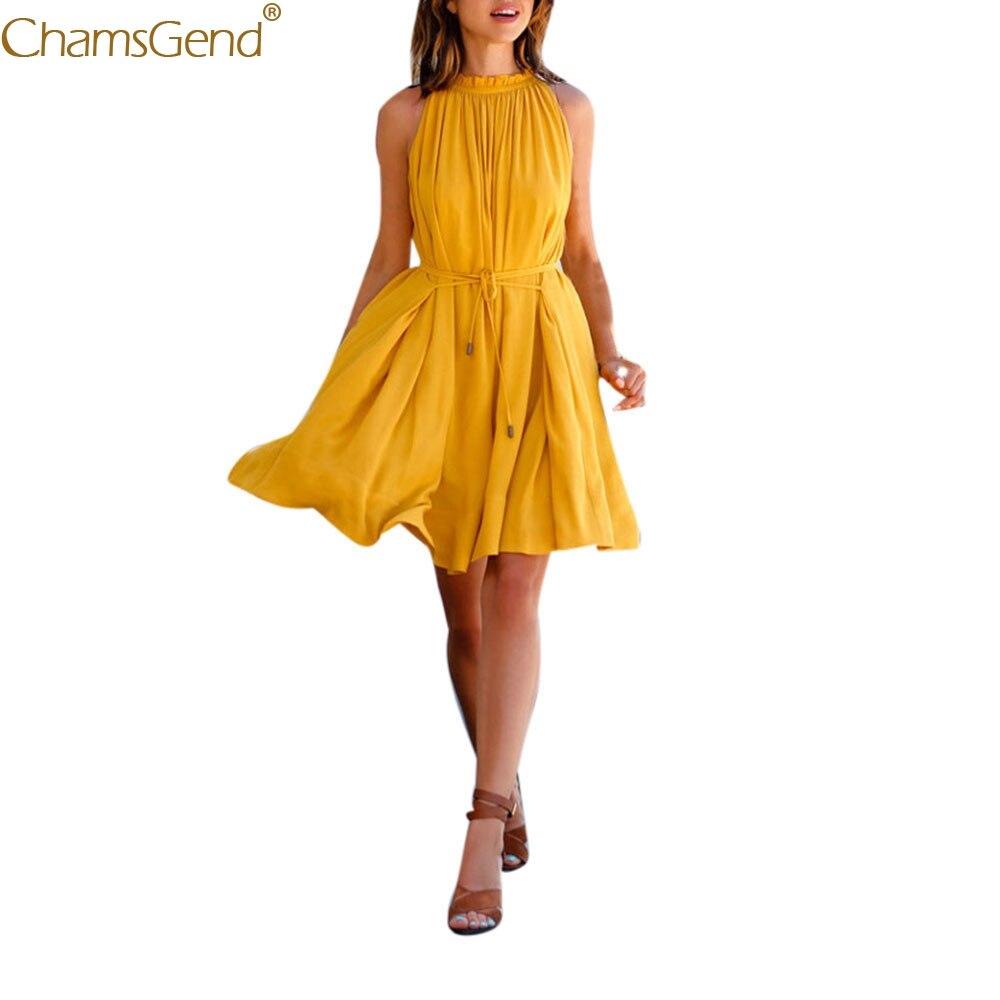 Chiffon dress women elegant summer woman dress party night Yellow Women's Sleeveless Beach Party Casual Dress Feb2