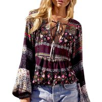 Elegant Long Sleeves Casual Blouses Sexy Tops Women's V Neck Floral Printed Boho Shirts Blouses
