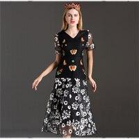 Vintage Female Dresses Summer 2017 Short Sleeve Black Flowers Print Elegant Patchwork Fashion Slim V Neck