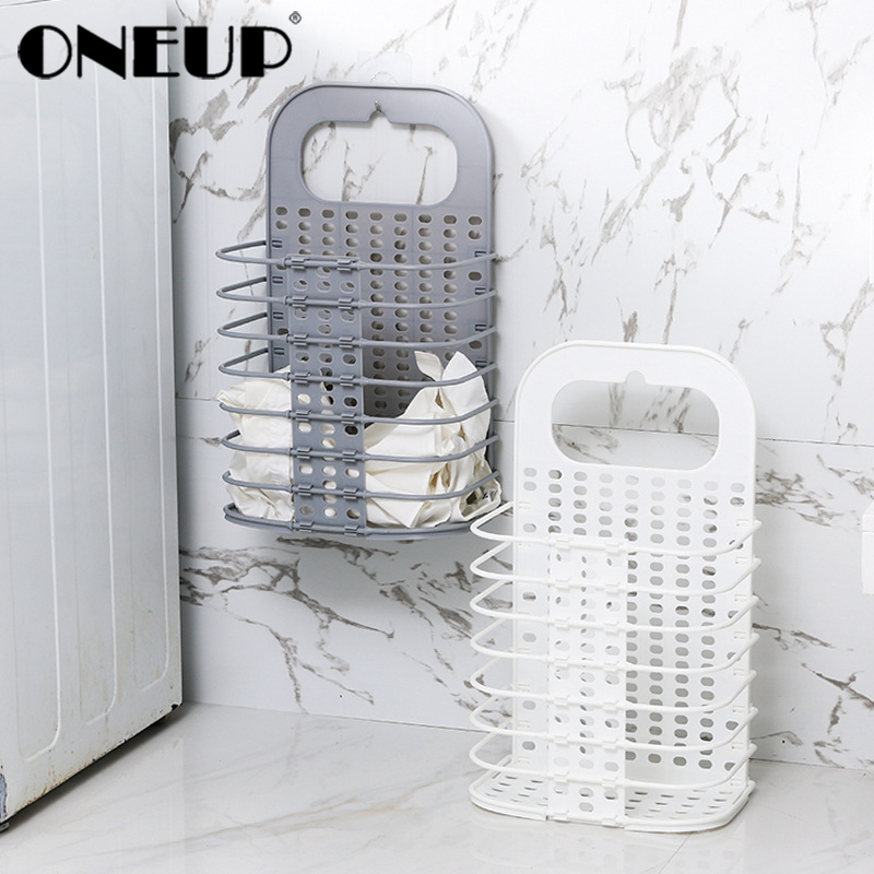 ONEUP Wall-mounted Plastic Laundry Basket Folding Storage Basket Laundry Hamper For Dirty Clothes Toy Organizer Picnic Baskets