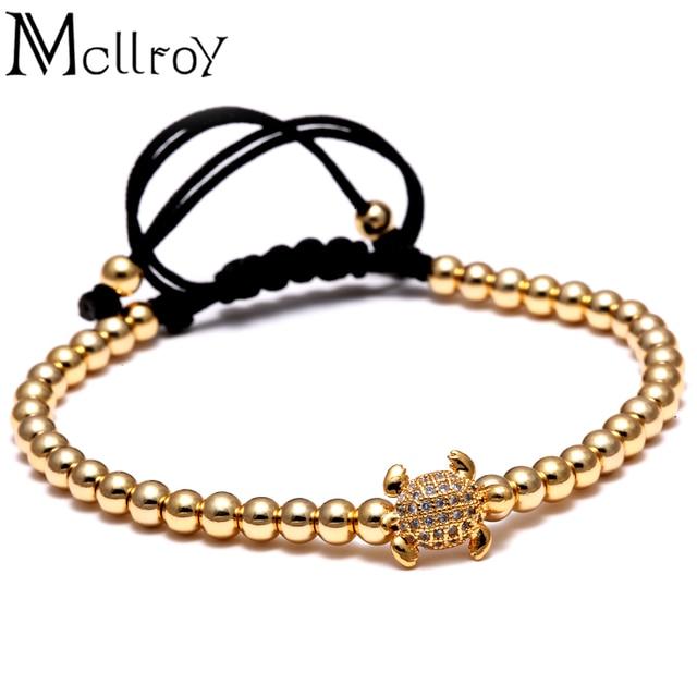 Mcllroy Weaving Mens Beads Bracelet Micro Pave Cz Turtle Tortoise Braided Macrame Bracelets Luxury Men