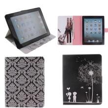 Luxury Cute Style Stand Design PU Leather Case for apple ipad 2 3 4 tablets Folio Cover capa para for iPad4 ipad3 ipad2 TX-DX