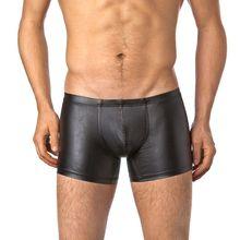 цены на European Plus Size Boxers Underwear Black Nylon Sexy Men PU Faux Leather Underwear Boxers Shorts Sheathy Cool Male Gay Underwear  в интернет-магазинах