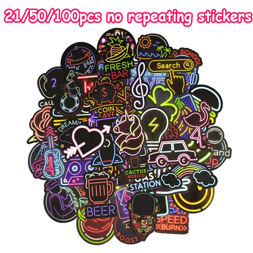 21/50/100 PCS Neon Light Sticker Anime Icon Animal Decals School Stickers For Skateboard Laptop Suitcase Guitar Fridge Notebook