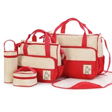 2016 Multifunctional Maternity Bags Baby Mummy Diaper Bag 5Pcs/set High Quality Tote Mother Bag For Baby Chaning Nappy Bags