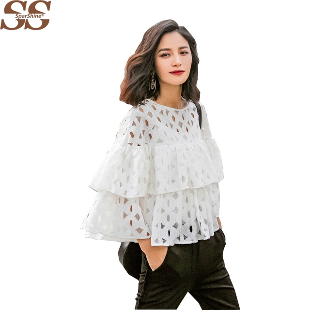 2016 Crochet Lace Shirt Blouse Perspective Hollow Flounced Lace Shirt Big Swing Casual Short Shirts O-neck Sleeve Tops