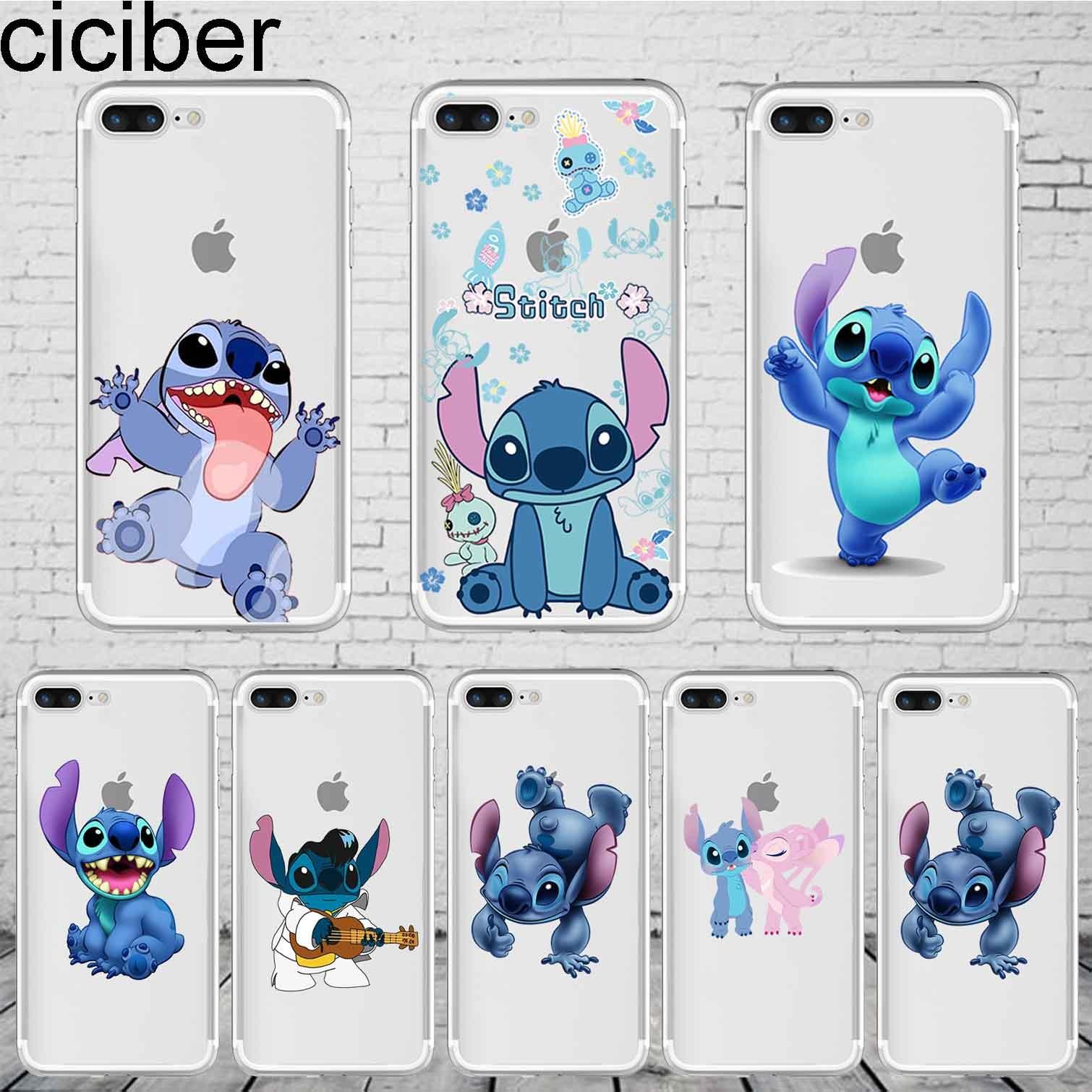 Galleria fotografica ciciber Cartoon Lovely Stich Stitch Phone Case Cover For iPhone 7 8 Plus X XR XS Max Cases 6 6S Plus 5 5S SE Coque Soft Silicone