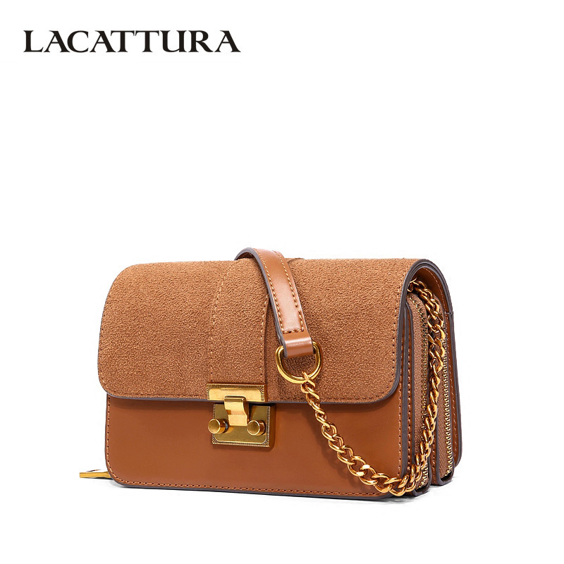 LACATTURA Luxury Vintage Handbag Women Messenger Bag Leather Small Flap Shoulder Bags Fashion Designer Crossbody for Lady Brown lacattura luxury handbag chain shoulder bags small clutch designer women leather crossbody bag girls messenger retro saddle bag