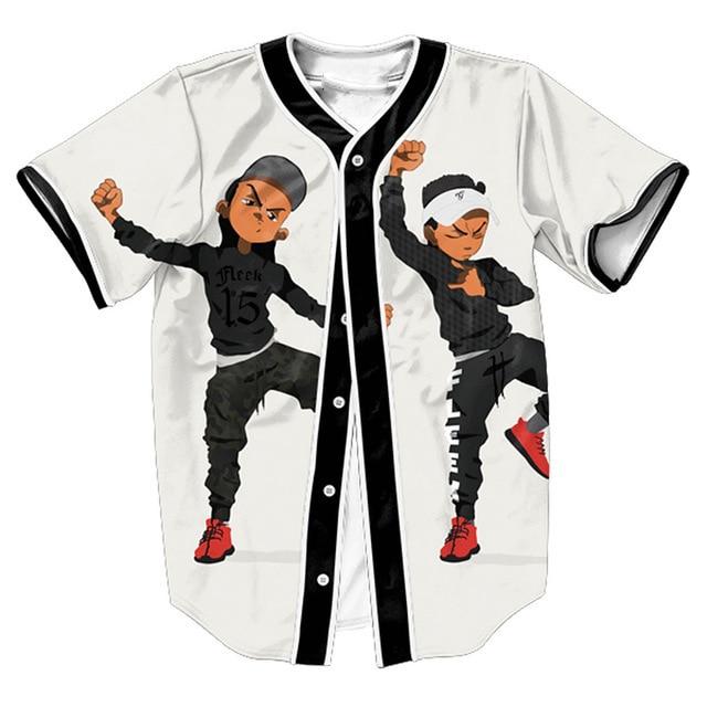 Urban Riley Jersey Baseball Jersey Mens Short Sleeve Shirt Streetwear Button Overshirt Hip Hop Tops Tees