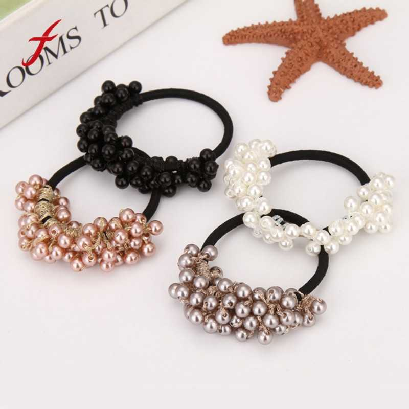 Women Fashion elastic hair bands for girls hair accessories Rhinestone Crystal Pearl Hair Band Rope Elastic Ponytail Holder