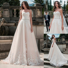 Glamorous Tulle Sweetheart Neckline A Line Wedding Dress With Lace Appliques Nude Bridal Dress with Beading Sash