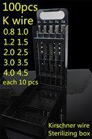 Медицинские Ортопедические 100 шт. интрамедуллярного pin набор контейнеров Киршнер Провода стерилизации поле ветеринарной Инструменты Стери