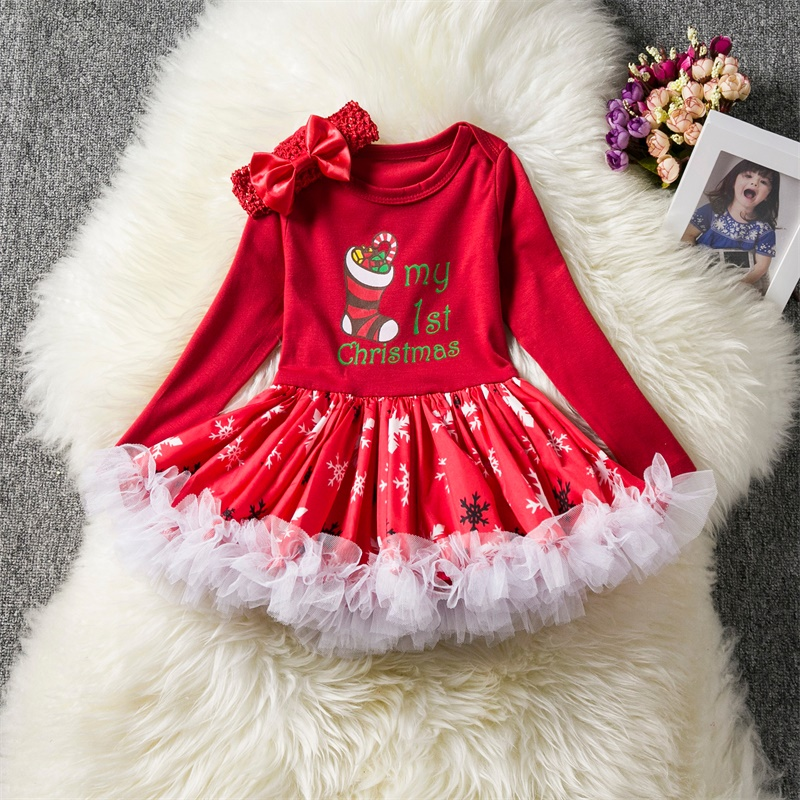 1 Year Christmas Party Gown Baby Girl Dress Santa Outfits Clothing Infant Princess for Newborn Girl Clothes White Baptism dress sr039 newborn baby clothes bebe baby girls and boys clothes christmas red and white party dress hat santa claus hat sliders