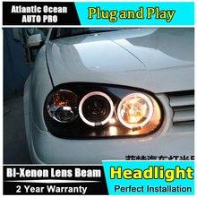 مصباح أمامي للسيارة vw golf 4 98 05 مصباح عيون الملاك عدسات زينون مصباح LED للسيارة H7 h1 مصباح led لتصفيف السيارة مصباح أمامي جديد للجولف MK4