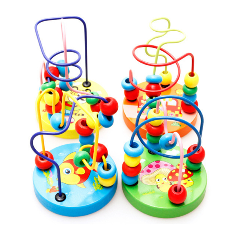 Wooden Toys Cartoon Animals Counting Circles Bead Wire Maze Roller Coaster Educational Math Toys Gifts For Chilrden Kid Baby