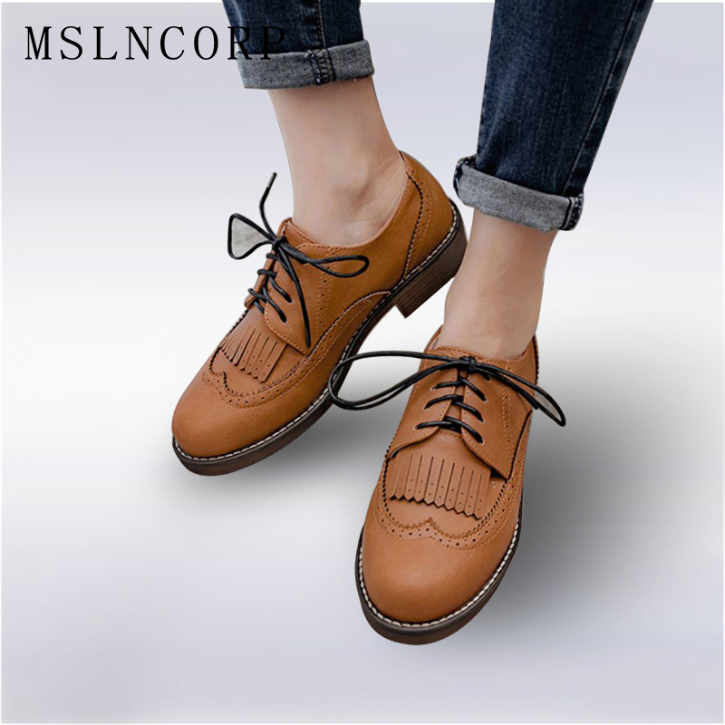 Plus Size New 34-43 Vintage Brand Shoes Women Casual Tassel Oxford Shoes Flats Comfortable Slip on Woman Lace-up Brogue Loafers slip on shoes loafers girl d orsay flats women flat shoes soft comfortable shoes woman plus size 34 40 41 42 43