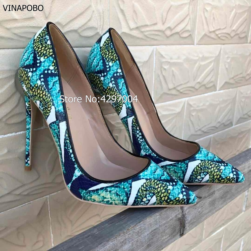 Vinapobo 12cm 10cm 8cm 2018 New Snake Printing Women Shoes Pointed Toe Green High Heel Shoes