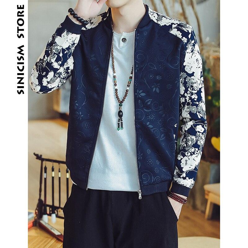 Sinicism Shop Männer Bomber Jacken 2018 Herren Patchwork Flora Druck Jacken  Männlichen Streetwear Japanische Mode Herbst Windjacke 55927b2731