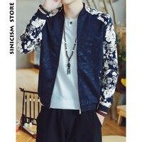 Sinicism Store Men Bomber Jackets 2018 Mens Patchwork Flora Print Jackets Male Streetwear Japanese Fashion Autumn Windbreaker