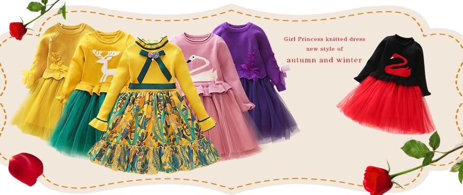 HTB1h4d0XtfvK1RjSspoq6zfNpXaf Girls Knitted Dress 2019 autumn winter Clothes Lattice Kids Toddler baby dress for girl princess Cotton warm Christmas Dresses