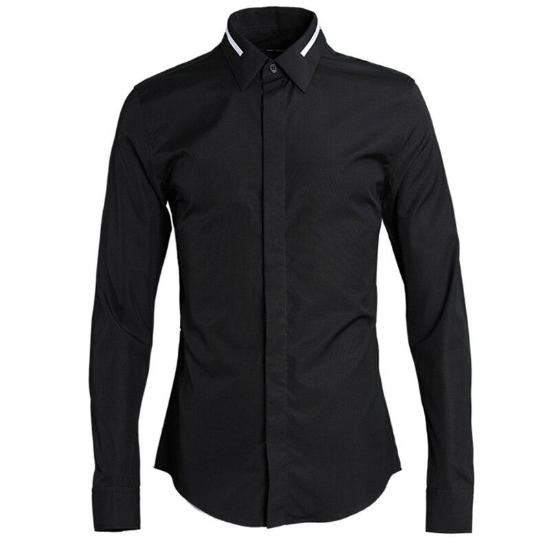2018 neue Kragen Stickerei Eine Parallel Bar männer Shirts Feine Verarbeitung Solide Farbe Europa und Amerika Slim Fit Voll hülse - 5