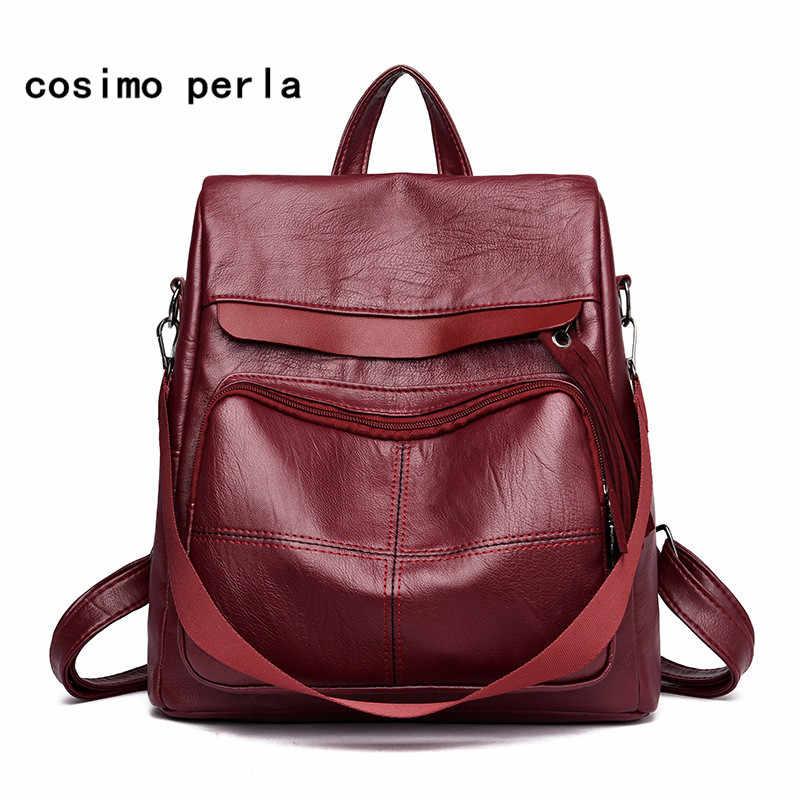 a4bae1cbb1d7 Fashion Thread Solid Anti theft Backpacks Women PU Leather Backpack ...