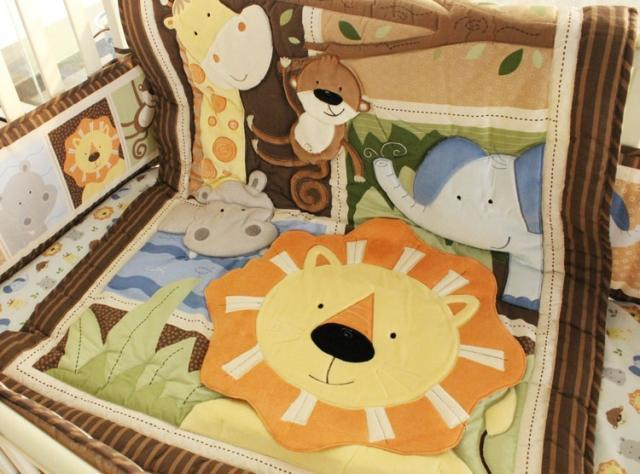 hot sell New 8pcs Baby Crib Cot Bedding Set jungle Quilt Bumper Sheet Dust Ruffle Nappy bag 5 items for baby boy ruffle trim sheet set