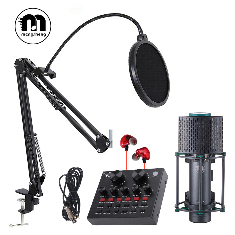 MS New Tank bm 800 Professional Studio Recording Condenser Microphone for Computor+microphone stand pop filter audio cable free professional condenser microphone bm 800 bm 800 cardioid pro audio studio vocal recording mic 48v phantom power usb sound card