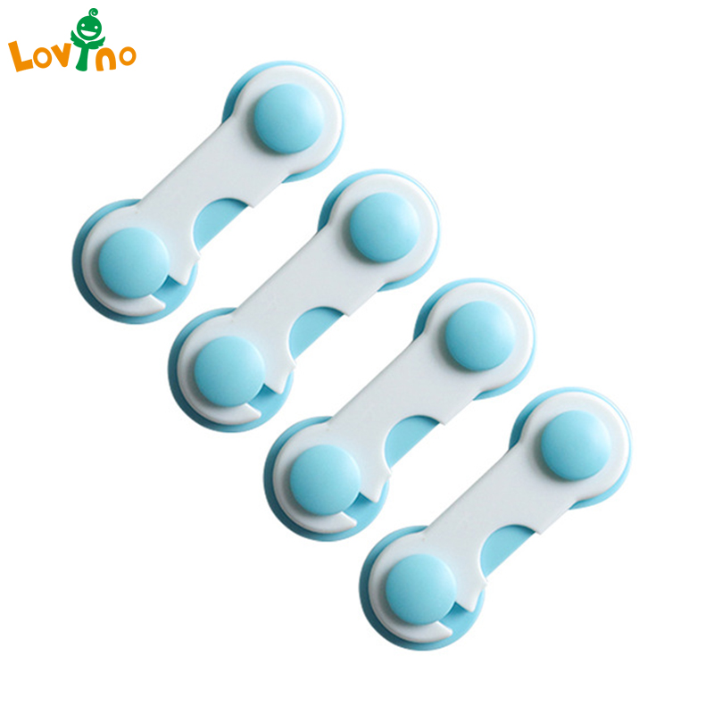 4 Pcs Children Drawer Cupboard Refrigerator Door Desk Plastic Protection Locking Baby Kids Straps Safety Cabinet Locks 2017