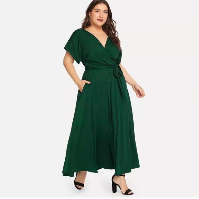 Summer Loose Comfort Large Size Women's Solid Maxi Dress Short Sleeve V-neck Strap Elegant Long Evening Party Dresses Plus Size 2