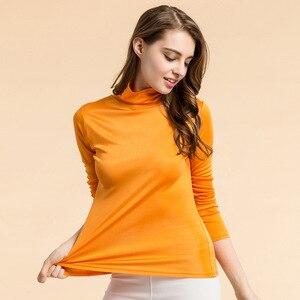 Image 4 - Рубашка SuyaDream Женская шелковая, водолазка с длинным рукавом, однотонный пуловер, приталенная нижняя рубашка, весна осень 2020, XXXL