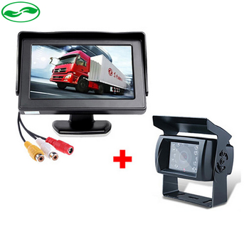 "DC 12~24V Truck Bus Parking Camera Monitor System, 4.3"" Car Monitor With Rear View Camera 15M 20M RCA Video Cable"