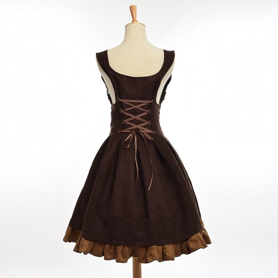 Robe gothique Steampunk élégante Vintage femmes période victorienne JSK Lolita brodé à lacets Corset jarretelle Costume Cosplay - 5
