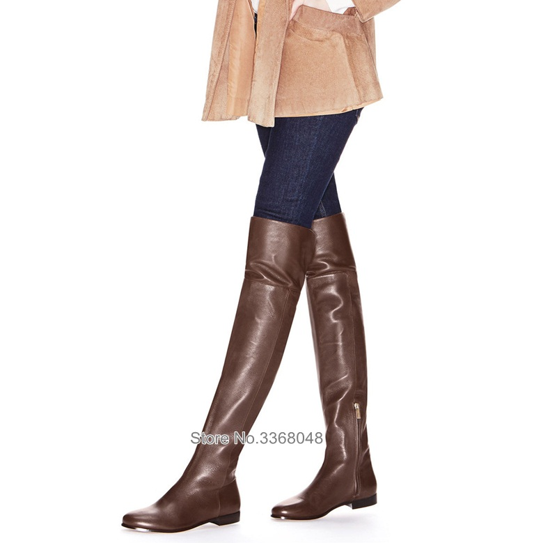 Fashion Low Heels Round Toe Boots Sexy Zipper Over-the-knee Brown Black Long Boots Slim Leg Elegant Autumn Spring Shoes Fashion Low Heels Round Toe Boots Sexy Zipper Over-the-knee Brown Black Long Boots Slim Leg Elegant Autumn Spring Shoes
