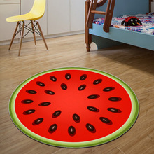Round Fruit Rugs Printing Cartoon Pattern Living Room Carpet Computer Swivel Cushion Child Crawling Blanket Non-slip Floor Mats