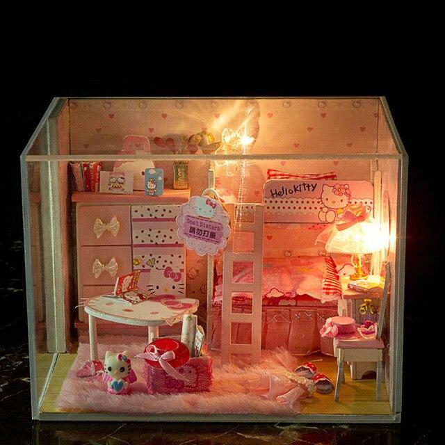 Diy Деревянный Кукольный Домик модели Мебели Свет Модель Строительство Комплекты Миниатюрный Кукольный Домик Головоломка Игрушки Куклы Подарки барбье кукольный дом