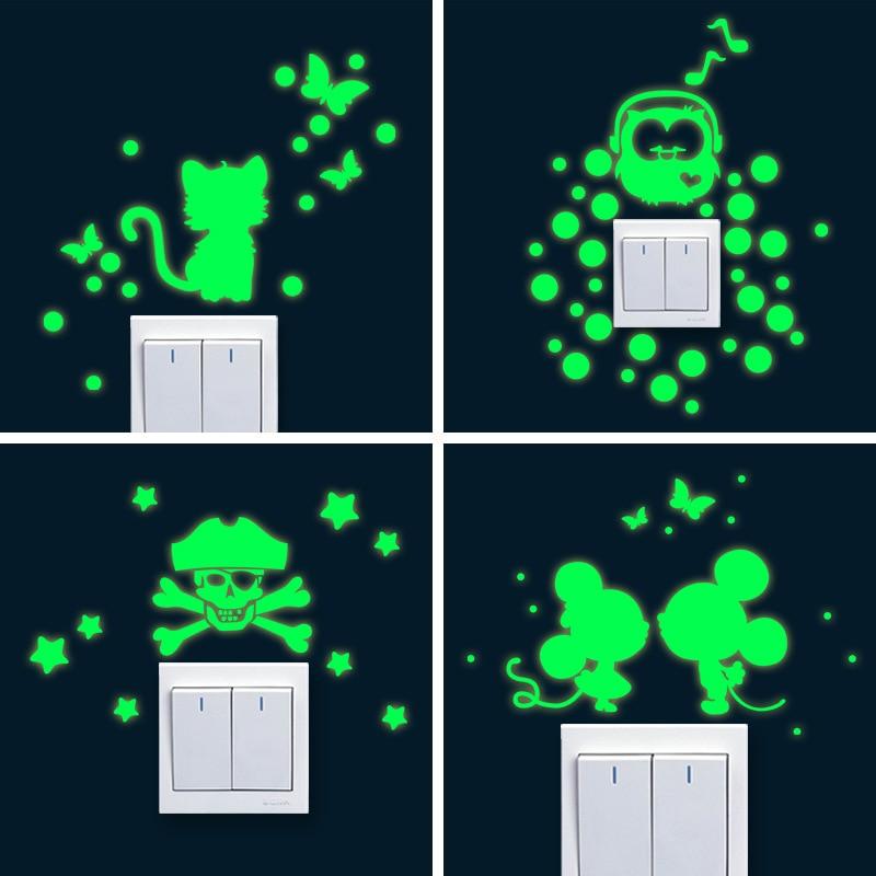 Cartoon Luminous DIY Cute Home Cat Switch Wall Sticker Night Light Bedroom Fluorescent Sticker Mural Wall Decals Poster