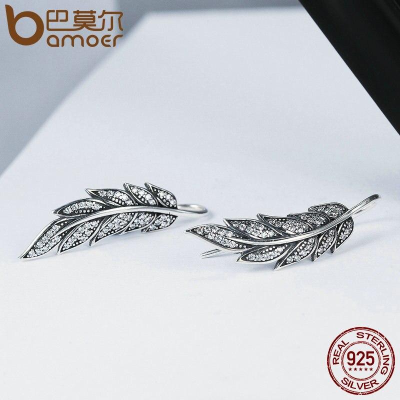 BAMOER Solid S925 Sterling Silber Damen Ohrstecker Retro Flügel Modeschmuck