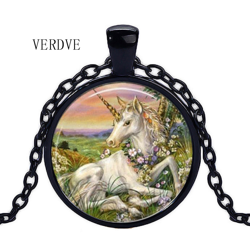 Buy Unicorn Tibetan silver round crystal glass pendant fashion necklace jewelry for only 1.23 USD