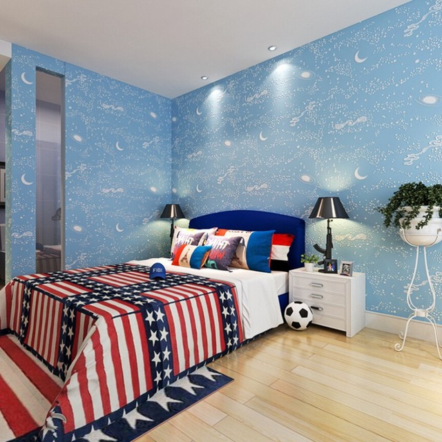 Beibehang Ceiling Children S Boy Wallpaper Bedroom Baby Galaxy Moon Stars Wall Paper Home Decor