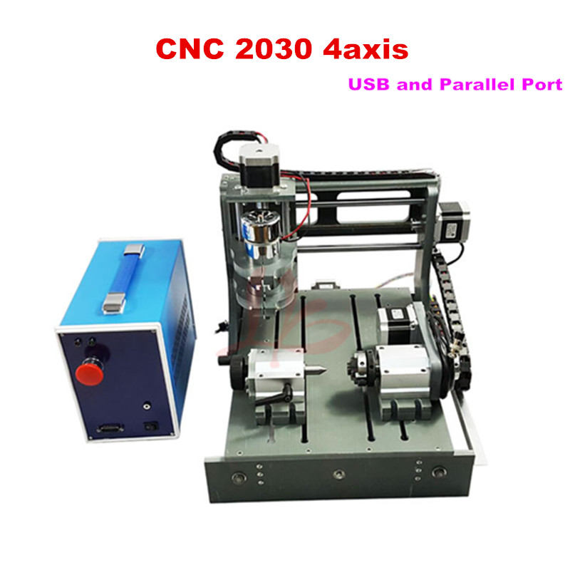 CNC ROUTER 2030-2 in 1 4axis CNC milling machine with USB port cnc engraving machine for pcb, wood working, no tax to russia!
