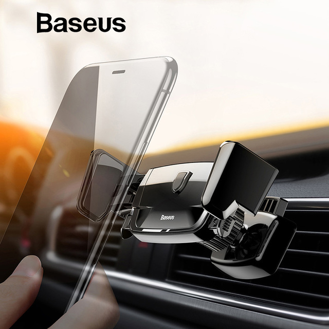 Baseus Mechanical Car Holder For iPhone XS X Samsung Mobile Phone Holder 360 Degree Auto Clip Air Vent Mount Holder Stand in Car