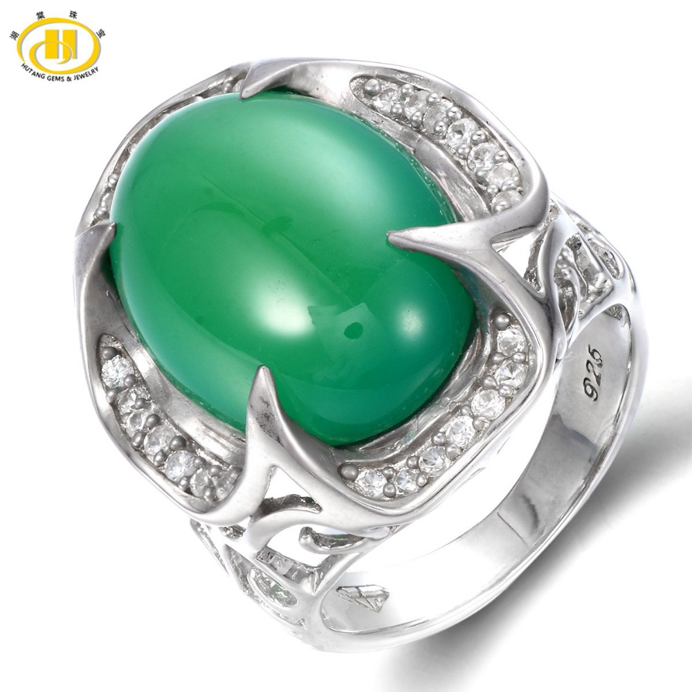 Hutang Genuine Green Jade Cabochon Cut Solid 925 Sterling Silver Ring For Womens Gemstone Vintage Fine Jewelry Xmas Gift 11.11Hutang Genuine Green Jade Cabochon Cut Solid 925 Sterling Silver Ring For Womens Gemstone Vintage Fine Jewelry Xmas Gift 11.11