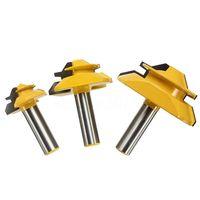 HHO 3Pcs 1/2 inch Shank Lock Miter Glue Joint Router Bit 45 Degree Woodwork Cutter Set