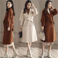 2018 Women Autumn Winter Coats Jackets warm Cotton Padded wool blends solid Oversized High Quality Long Coat Manteau Femme
