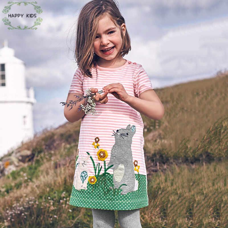 Doz425 От 1 до 6 лет летние платья для маленьких девочек кролик аппликации с коротким рукавом Детские платья для девочек; Новинка Винтаж малышей Одежда для девочек